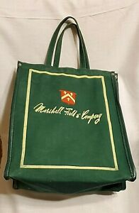 VINTAGE MARSHALL FIELD & COMPANY GREEN CANVAS TOTE BAG