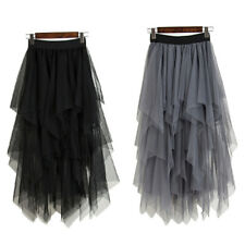 Fashion High Waist Long Tulle Skirt Women Irregular Hem Mesh Tutu Skirt FreeSize