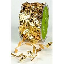 3m  Gold Leaf Trim Satin Ribbon for Craft Wedding Party Decoration