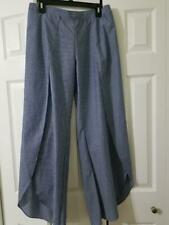 NWT DREW Chambray Striped Tulip Pants Indigo Size L Made in USA TJ80854