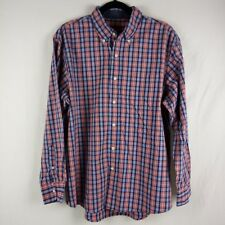 Izod Casual Shirt Size L Blue Red Checkered Button Down