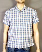 vtg 50s Washington Dee Cee Dan River Loop Collar Shirt Square rockabilly SS sz M