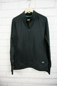 Under Armour Base 2.0 1/4 Zip Pullover Top Black Top Women's Size XL Fitted