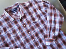 Panhandle Slim men's western shirt long sleeve pearl snap cotton Brown plaid 2XL