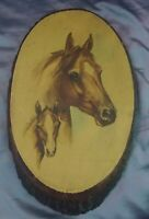 "Paul Whitney Hunter Artist Painting on Live Edge Wood of Mare and Colt 14"" Horse"
