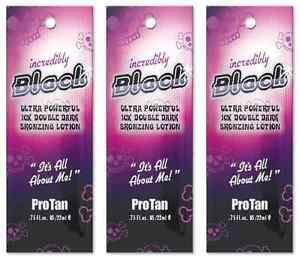 Pro Tan Incredibly Black 3 x 22ml Sachets Tanning Sunbed Cream Lotion Protan