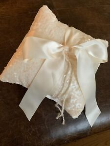 Ivory Satin Sequin Wedding Ring Bearer Pillow