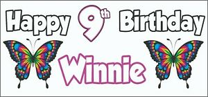 2 PERSONALISED Butterfly 9th Birthday Banners Party Decorations Girls Daughter