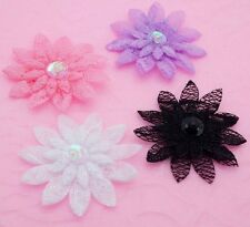 40 Mixed Embossed Sequin Beaded Lace Daisy Flower Appliques ~ Trim/Craft A018