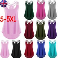 Women Sleeveless Bandages Vest Party Casual Solid Blouse Loose Strappy Tank Tops