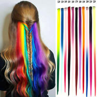 One Piece Clip In Hair Extensions Synthetic Long Straight Rainbow GradientColor