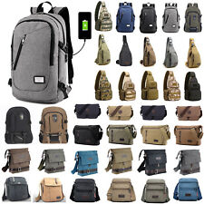 Mens Canvas Shoulder Bag Messenger Bag Sport Travel Hiking Crossbody Backpack