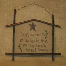 Rustic Twig Wall Picture Stitched Poem about Flowers Home Decor