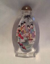 "Large 5"" Snuff Bottle Reverse Painted Japanese Geisha IOB Asian Oriental"
