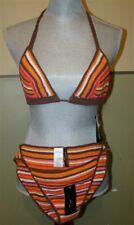 NEW BCBG Max Azria Hand Knit Stripe Bikini Top S Bottom L Orange 39263