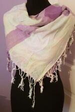 H&M Divided Women Tassel Checked Pastel Green Purple Scarf Autumn Shawl
