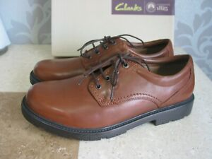 NEW CLARKS CUSHION CELL LANE STRIDE BROWN LEATHER SHOES UK  11 & 10.5 H WIDE