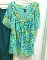 Nue Options Top 3x SHEER Tropical Embellished V-neck Blues Greens