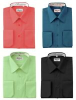 Berlioni Men's Standard or Convertible Cuff Dress Shirts in Variety of Colors