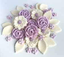 Lilac/Ivory Wedding Roses Bouquet Cake Decorations Sugar Flowers Cupcake Topper
