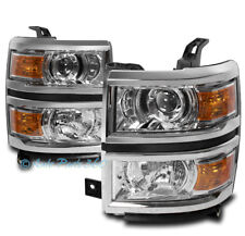 FOR 14-15 CHEVY SILVERADO 1500 REPLACEMENT PROJECTOR HEADLIGHTS HEADLAMPS CHROME