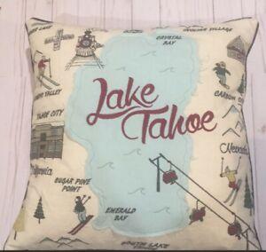 Cynthia Rowley Lake Tahoe Pillow Embroidered Decorative Designer Cushion 18x18