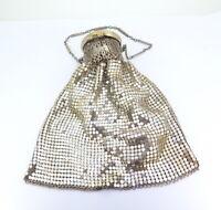 .Original Metallic Silver Mesh Whiting & Davis Co USA Expanding Purse Bag 1950's