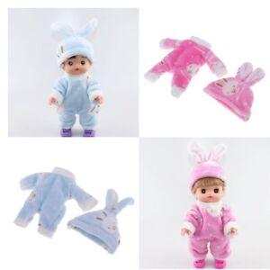 2pcs Jumpsuit with Rabbit Hat Clothes Set for 25cm Mellchan Baby Reborn Doll