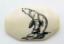 Vintage Signed Nuguruk Scrimshaw Polar Bear Pin Brooch Alaska Art Arctic
