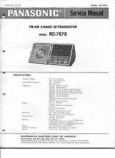 Vintage Panasonic SERVICE MANUAL- Model RC-7878 FM-AM 10 Transistor Clock Radio