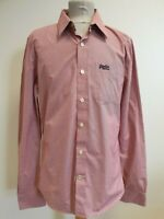 D447 MENS SUPERDRY RED WHITE FINE CHECK SLIM FITTED SHIRT UK LARGE L EU 54