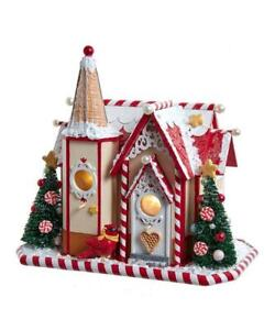 "9"" Lighted Cardinal Birdhouse Holiday Victorian Christmas House"