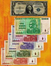 50/20/10/5/1 Billion Zimbabwe Dollars Banknotes Set + 1$ U.S. Silver Certificate