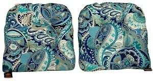 """Pier 1 Imports Outdoor 4"""" Thick Seat Cushions Set of 2 Blue Aqua 20 x 20 Paisley"""