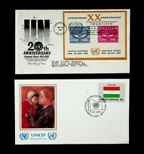 UN 1965/ 80 20TH ANNIVERSARY/ UNICEF 2 ILLUSTRATED FDC W/ 2v SHEET+ HUNGARY FLAG
