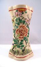 "Japanese Porcelain Satsuma Vase Purple Flowers Design Signed Japan 4.25"""
