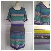 GUDRUN SJODEN Women's Knitted Cotton Pocket Dress Tunic Size S Multi Stripes