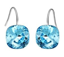 Sparkly Blue Swarovski Element Crystal Silver Plated Drop Dangle Women Earrings
