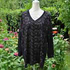 TOP tunique Femme Grande Taille 54 56 Noir gris Julianne ZAZA2CATS new