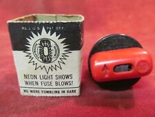 Rare 1950s Sightmaster Screw In Electric Panel 15a Fuse Neon Lights When Blown