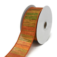 Woven Fall Ombre Stripes Wired Ribbon, 1-1/2-Inch, 10-Yard