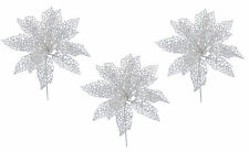 3 x White Glitter Poinsettia Picks Christmas Tree Decorations Flower Picks