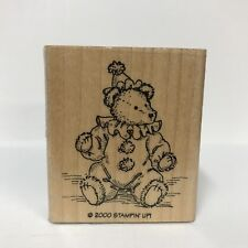Stampin Up Wood-Mounted Rubber Stamp Costume Bear Clown Hat Collar Pom-Poms 2000