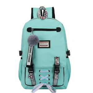 Womens Canvas backpack Large school bags teenage girls usb with lock Anti theft