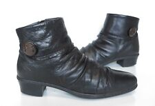 Ladies RIEKER Anti-Stress Black Leather Ankle Low Heel Boots Size 38 UK 5