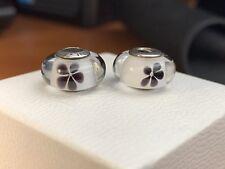 Pandora Black Cherry Blossom Murano Glass Charms Set Of 2  # 791605