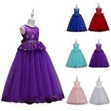 Flower Girl Sleeveless Long Dress Kids Lace Tulle Party Gown Formal Prom Wedding
