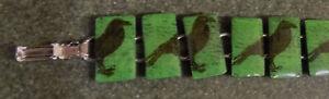 90s jade green black RAVEN hand painted acrylic tile bangle BRACELET NEW gothic