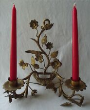LOVELY VINTAGE ITALIAN GOLD GILT METAL FLORAL DOUBLE CANDLE HOLDER WALL SCONCE