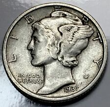 1937 Mercury Dime - US 90% Silver Coin #06